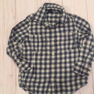 Gap Navy & White Plaid Button Shirt Size 4